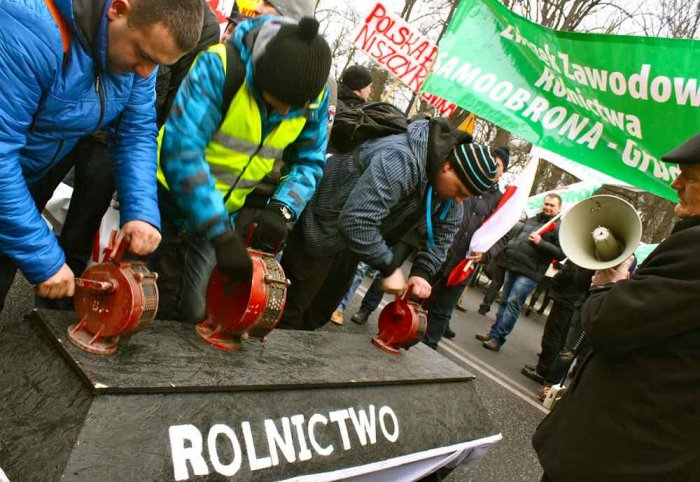 Протестующие забивают крышку гроба
