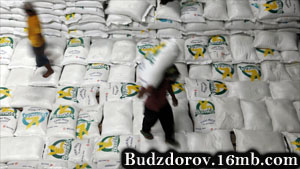 китайский рабочий с мешками риса