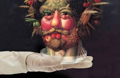 Фото. Известная голова из фруктов