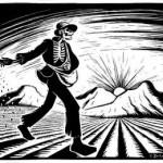 Шагает по полю мужик и сеет его зерном
