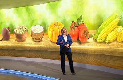 Фото. Ведущая рассказывает о ГМО