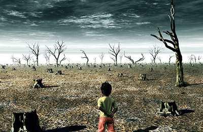 ребенок среди высшенной растительности