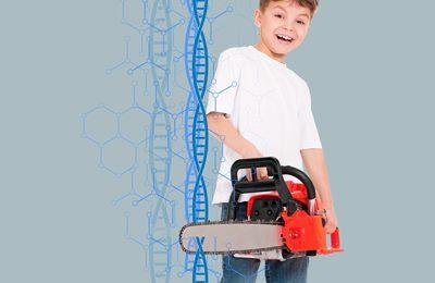 ребенок с бензопилой и ДНК