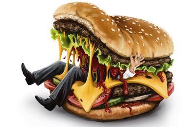 бургер ест человека